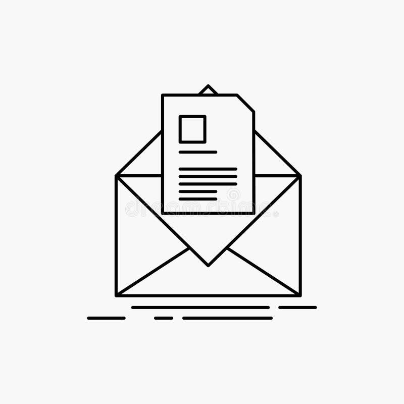 courrier, contrat, lettre, email, donnant des instructions la ligne ic?ne Illustration d'isolement par vecteur illustration libre de droits