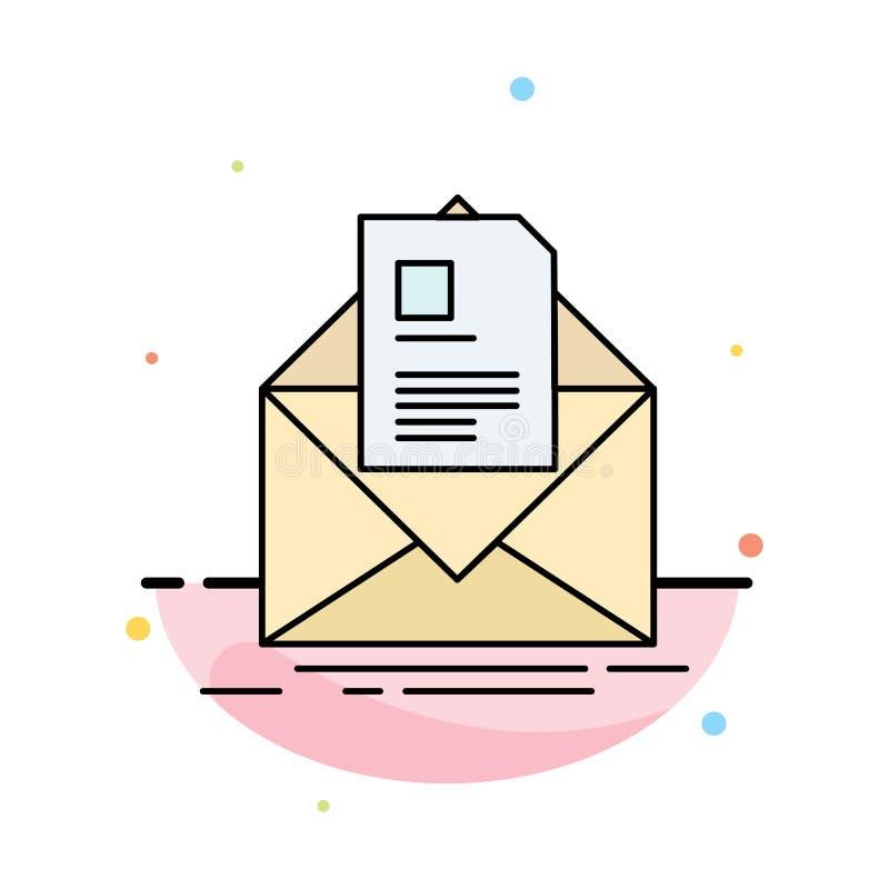 courrier, contrat, lettre, email, vecteur plat d'icône de couleur de briefing illustration stock