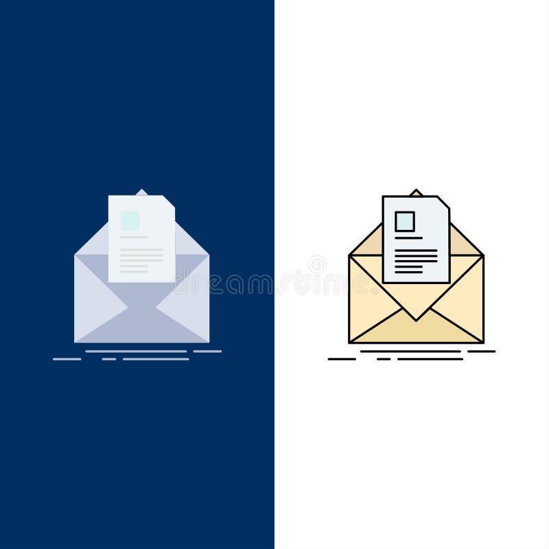 courrier, contrat, lettre, email, vecteur plat d'icône de couleur de briefing illustration libre de droits