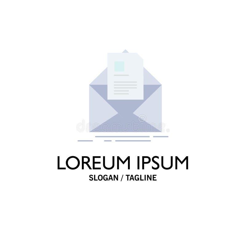 courrier, contrat, lettre, email, vecteur plat d'icône de couleur de briefing illustration de vecteur