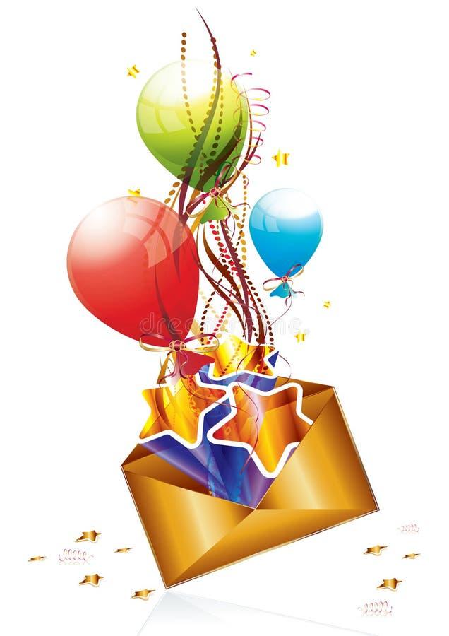 Courrier d'anniversaire illustration stock
