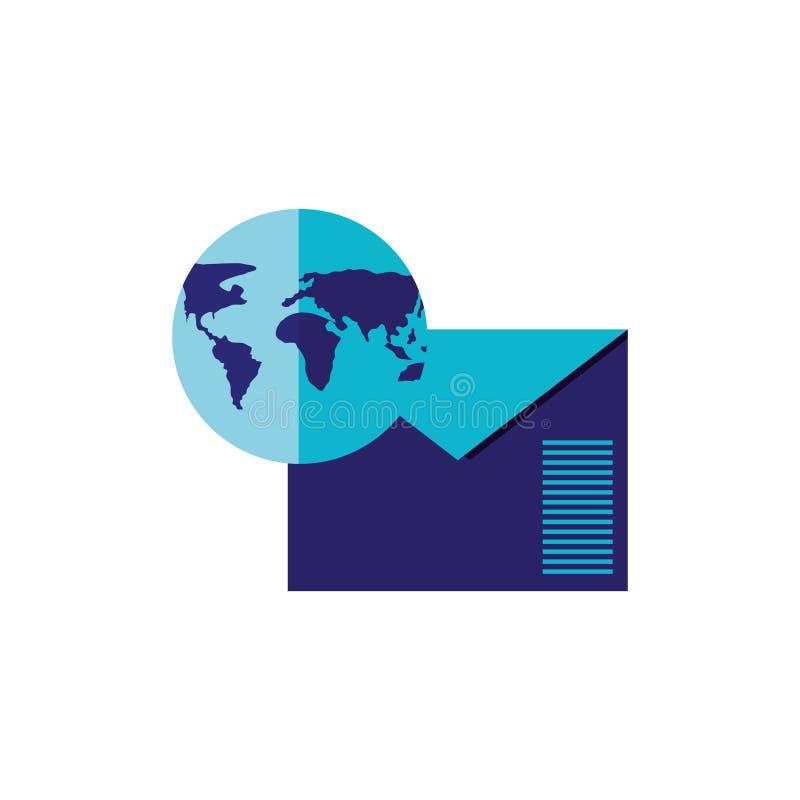 Courrier d'enveloppe avec l'icône d'isolement par terre de planète illustration stock