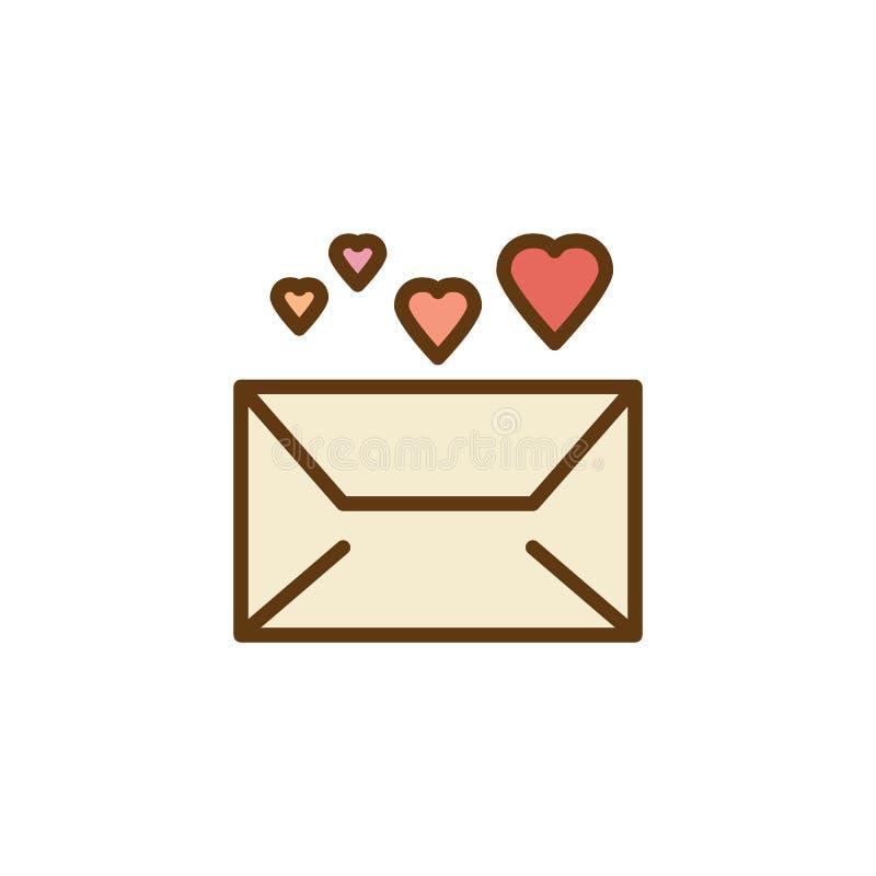Courrier d'enveloppe avec l'icône plate de coeurs illustration libre de droits