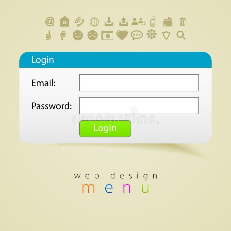 Courrier d'icône de menu de login de web design photos stock
