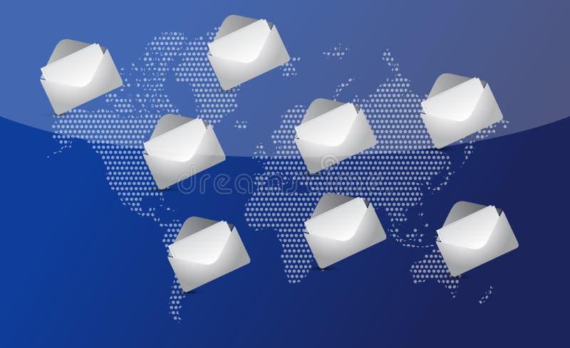 Courrier dans le monde entier pour la transmission sociale de réseau. illustration de vecteur
