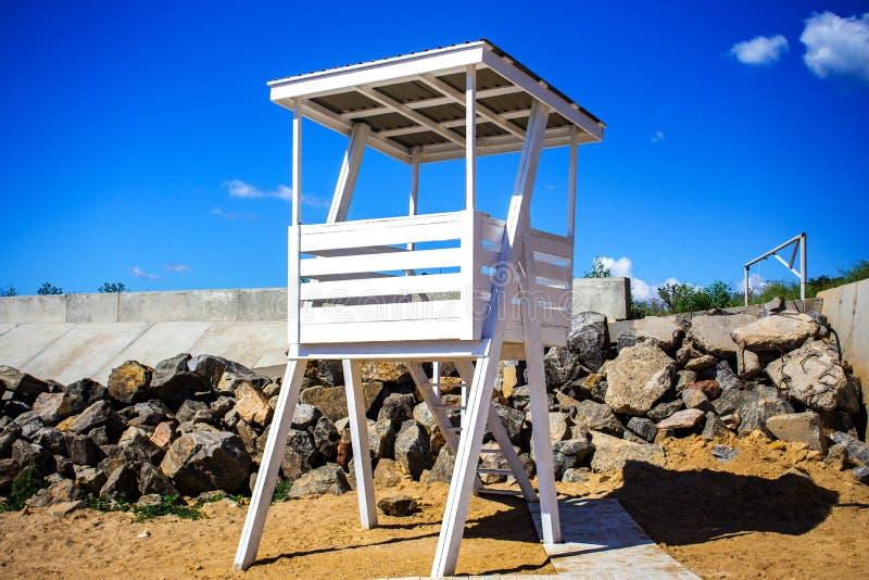 Courrier de délivrance sur la plage Chien de garde sur la plage photos libres de droits