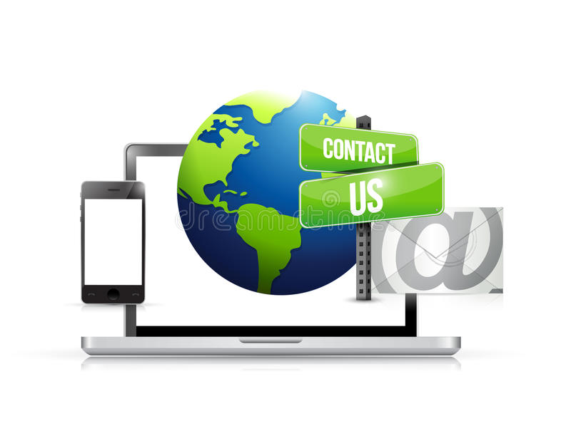 courrier de globe de contactez-nous de l'électronique de technologie illustration libre de droits