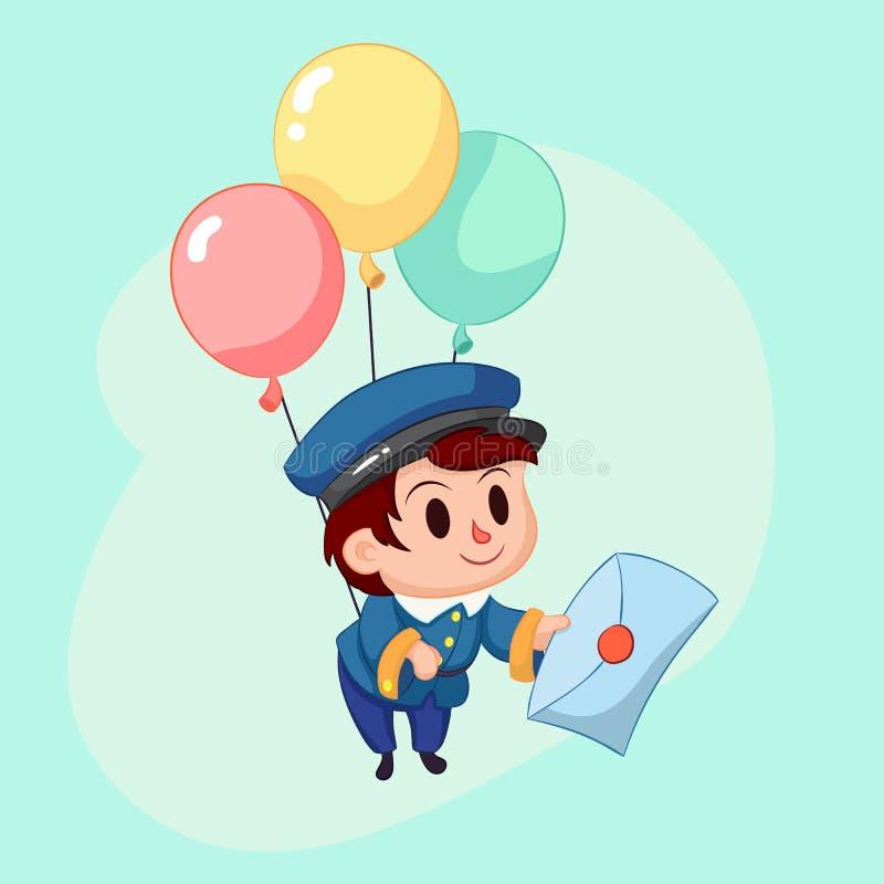 Courrier de la livraison de facteur Homme amical de courrier dans l'uniforme bleu avec la lettre Illustration drôle de dessin ani illustration de vecteur