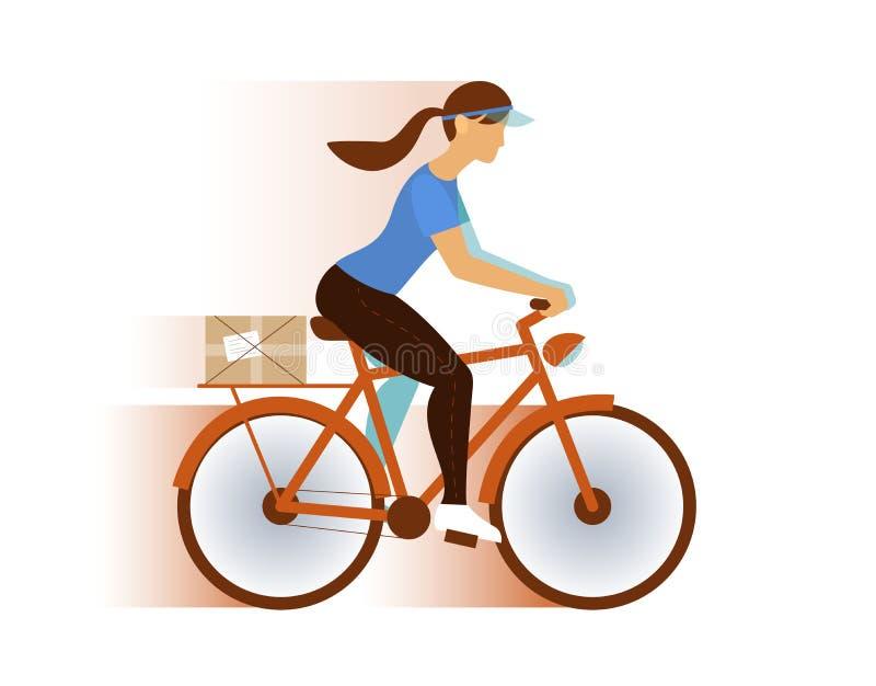 Courrier de la livraison de fille de facteur ou paquet mignon, email illustration de vecteur
