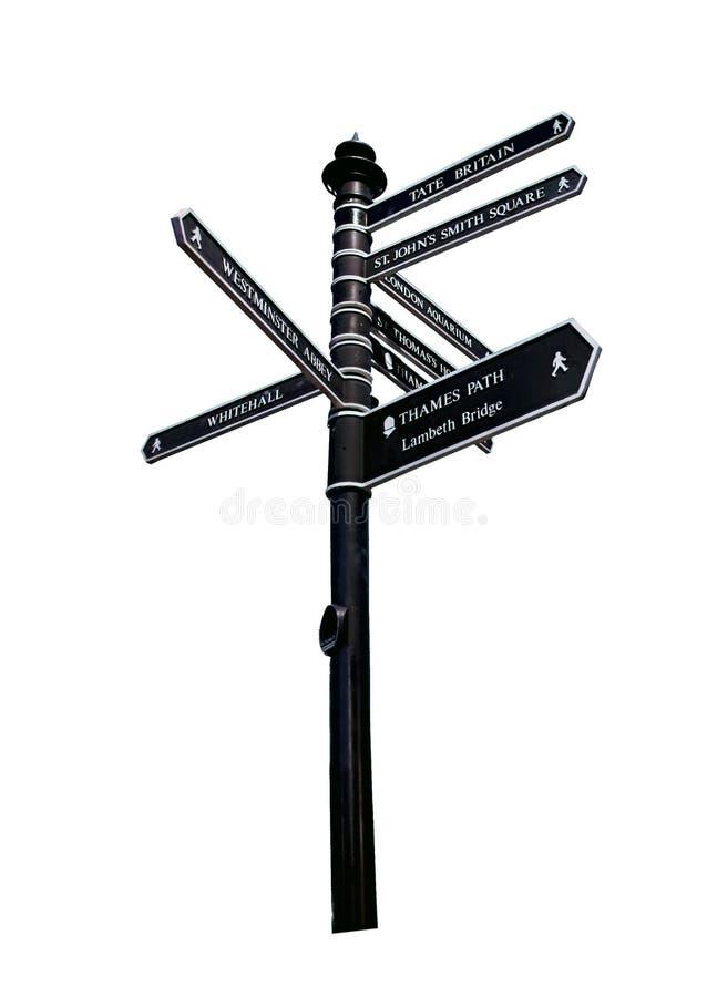 Courrier de signal de direction de rue de Londres - signez avec des directions à Lond photo stock