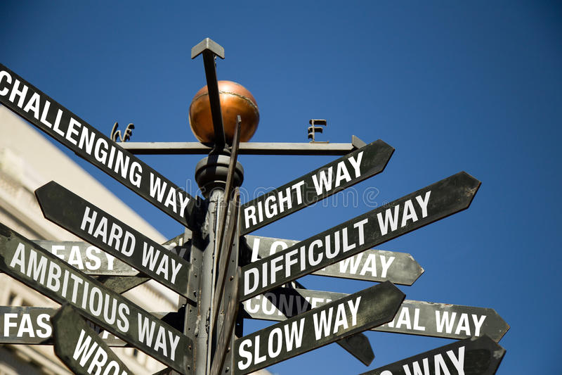 Courrier de signe directionnel avec les messages mélangés photographie stock libre de droits