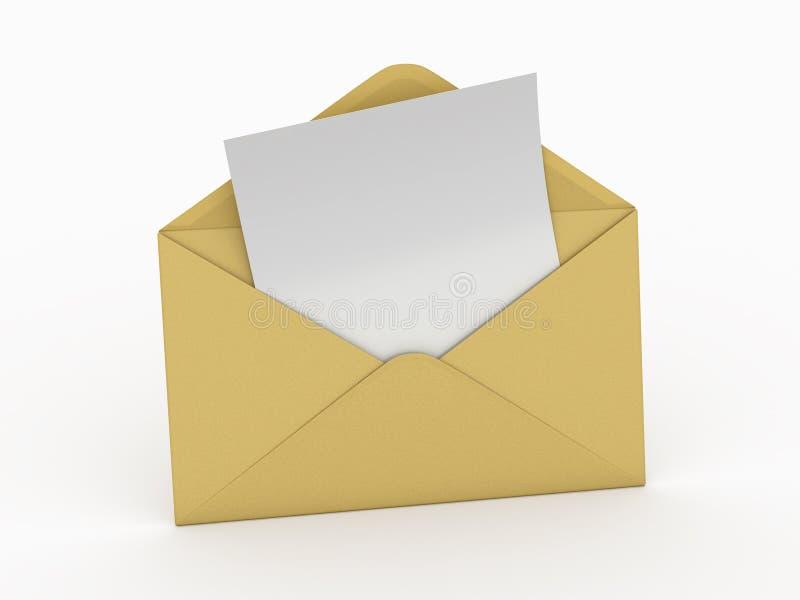 Courrier. Enveloppe et lettre vide. 3d illustration libre de droits