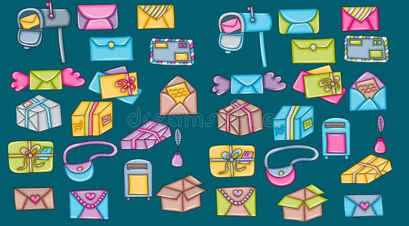 Courrier et icônes de distribution du courrier Conception d'autocollants de griffonnage de bande dessinée Vecteur coloré tiré par illustration libre de droits