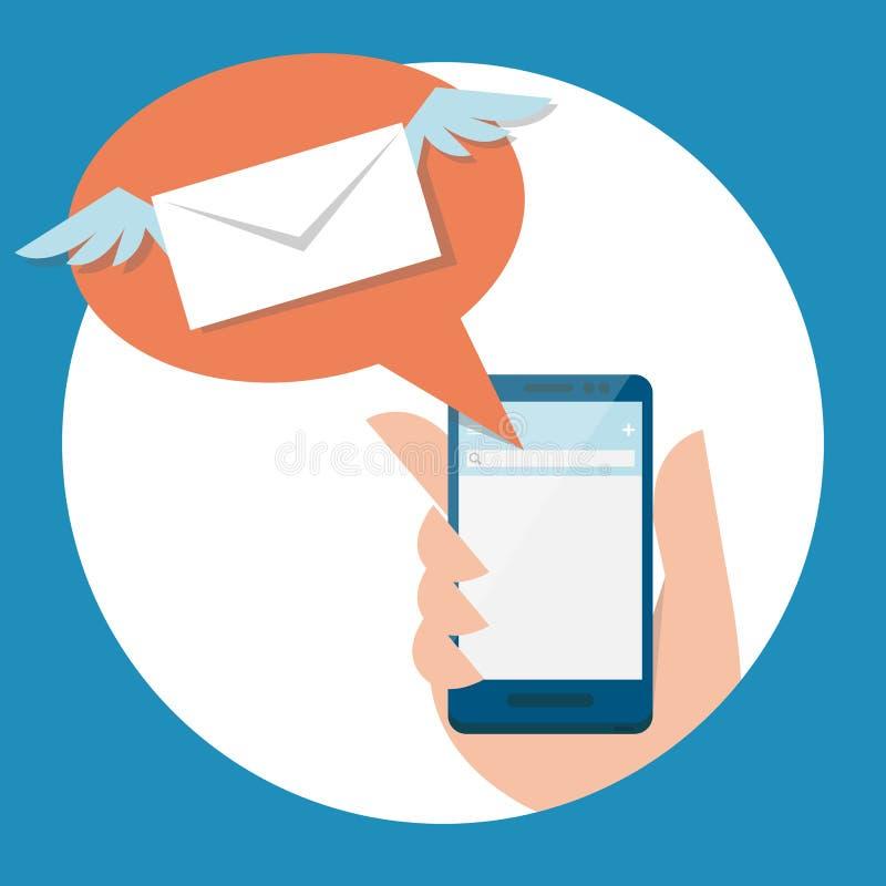 Courrier et mobile illustration de vecteur