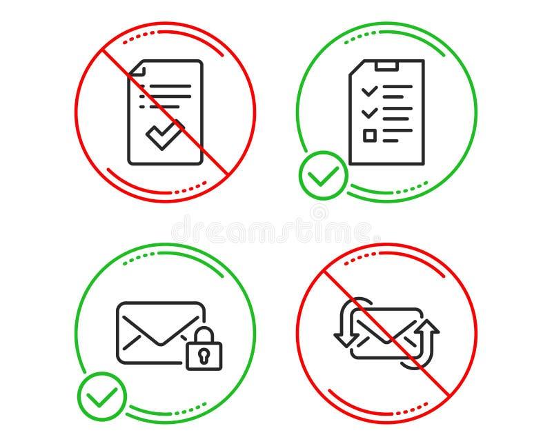 Courrier s?r, liste de contr?le approuv?e et ensemble d'ic?nes d'entrevue R?g?n?rez le signe de courrier Vecteur illustration stock