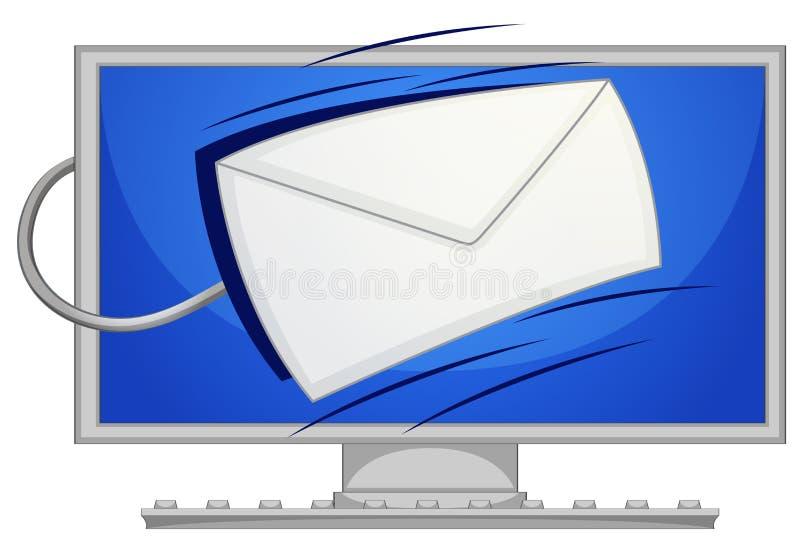 Courrier sur l'écran d'ordinateur illustration de vecteur