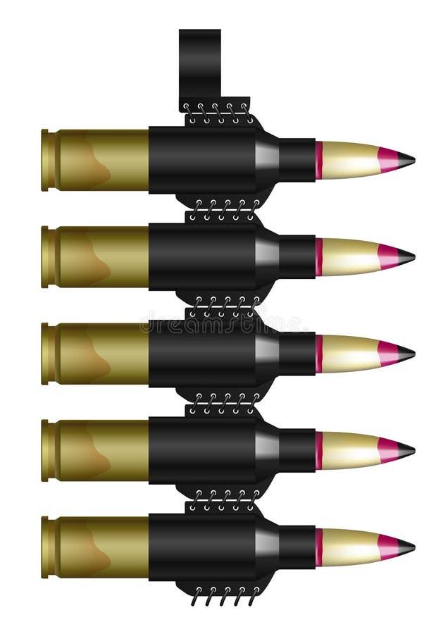 Courroie Machine-gun avec des cartouches illustration de vecteur