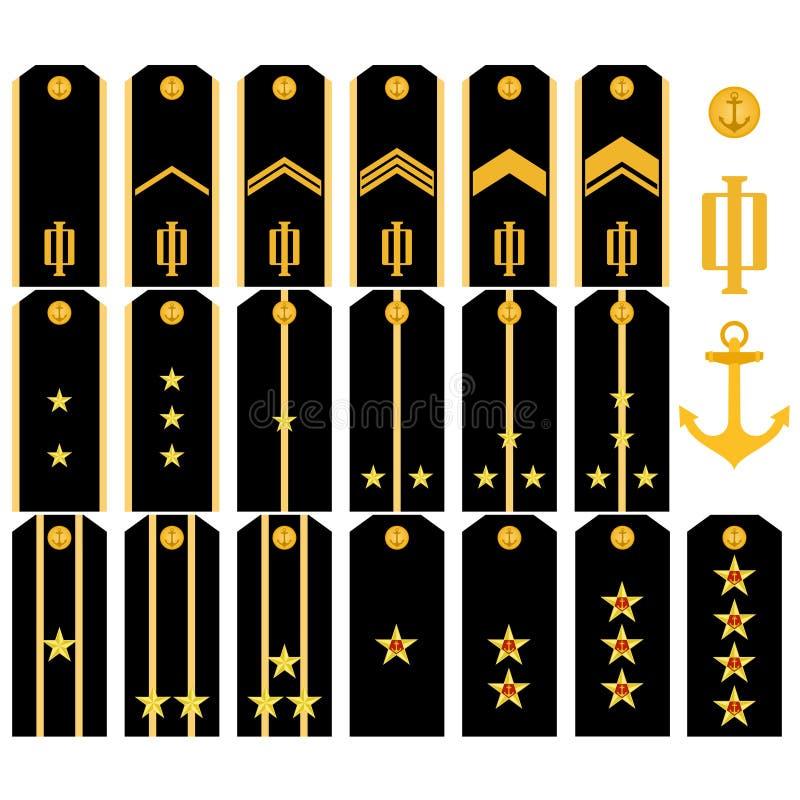 Courroies d'épaule de la marine de l'armée russe illustration stock