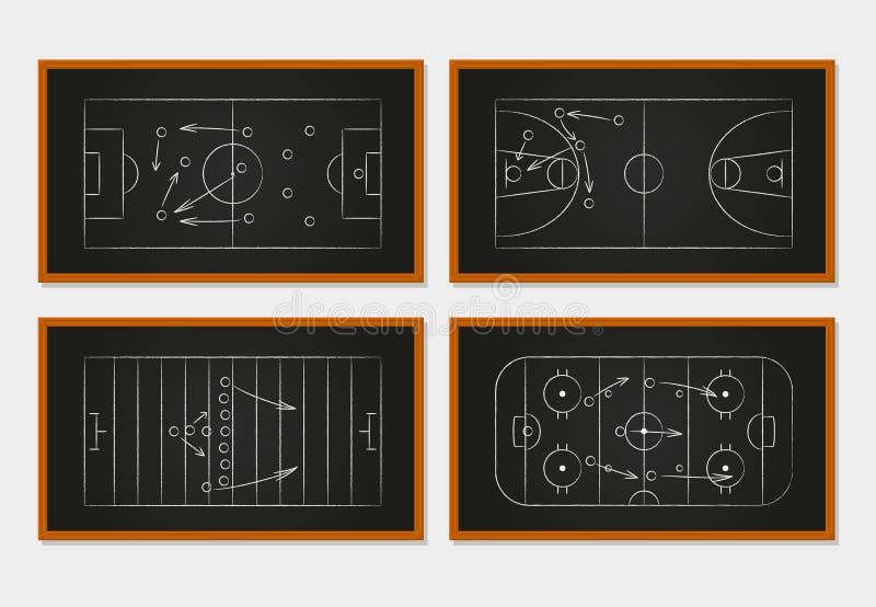 Cours de basket-ball, de football, de football et de hockey sur glace illustration libre de droits