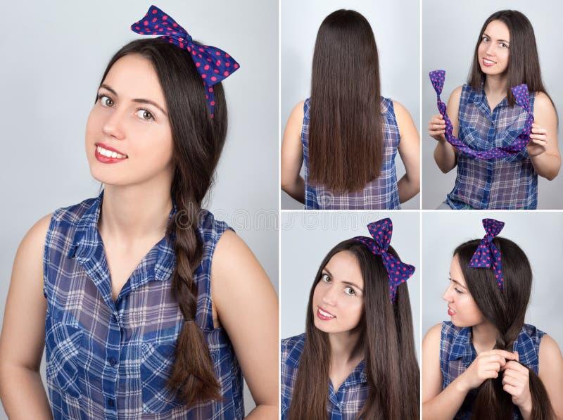 Cours de coiffure de tresse Cours de cheveux photographie stock