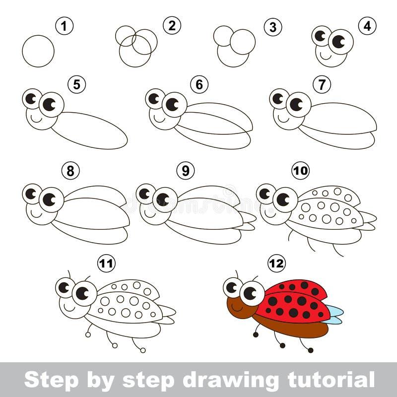 Cours de dessin coccinelle illustration de vecteur