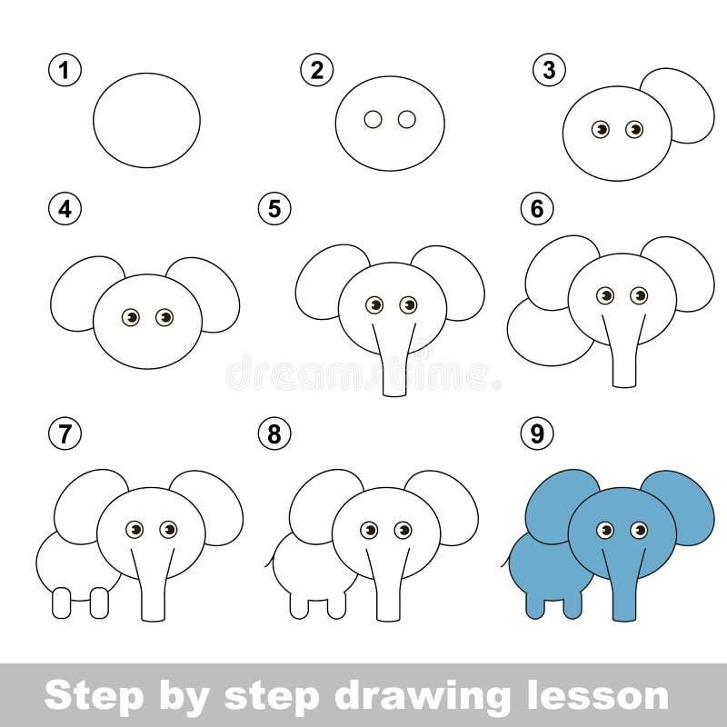 Cours de dessin Comment dessiner un éléphant illustration de vecteur