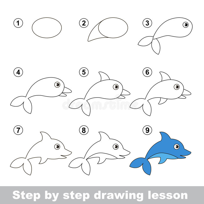 Cours de dessin Comment dessiner un dauphin illustration stock