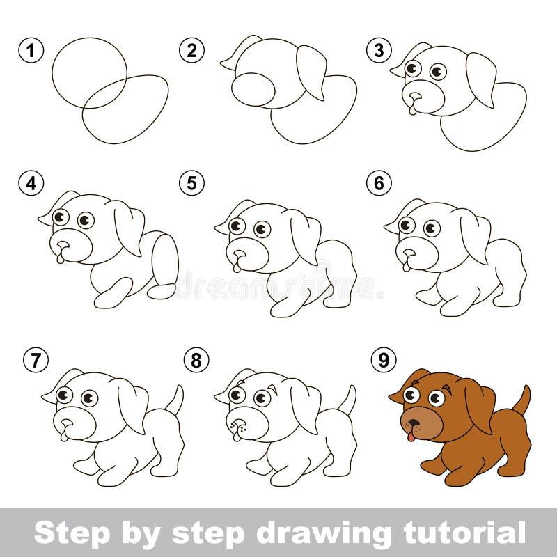 Cours de dessin Comment dessiner un petit chiot illustration libre de droits
