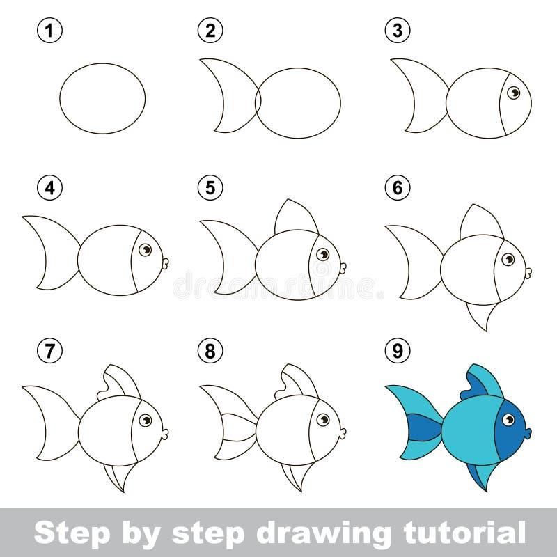 Cours de dessin comment dessiner un poisson mignon illustration de vecteur illustration du - Dessiner un poisson facilement ...