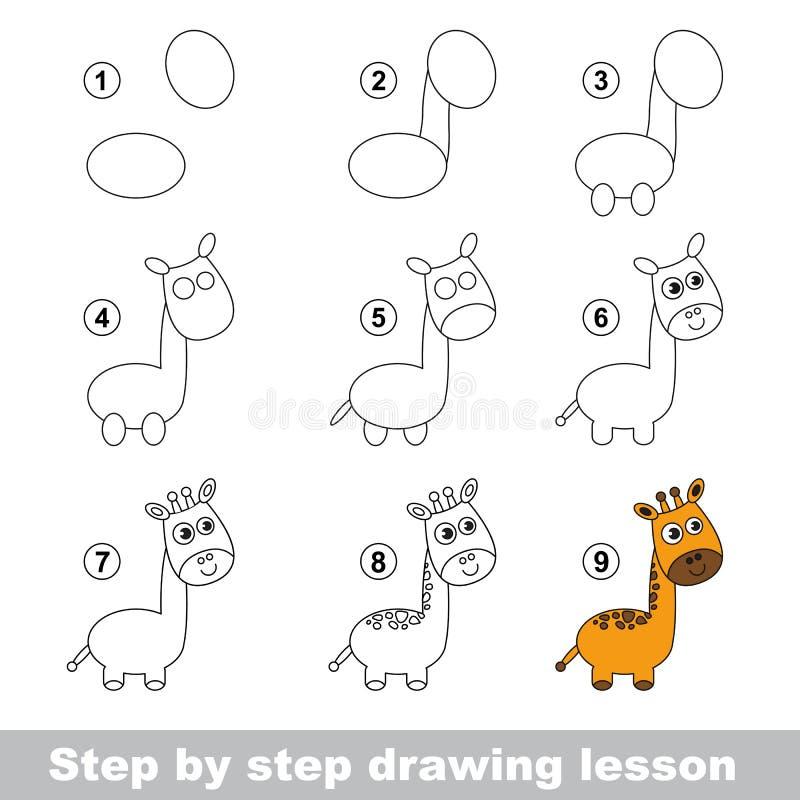 Cours de dessin Comment dessiner une girafe illustration de vecteur