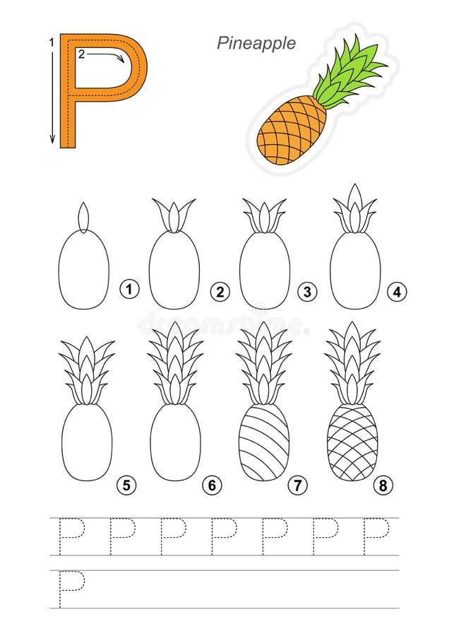 Cours De Dessin Jeu Pour La Lettre P Ananas Mûr Illustration
