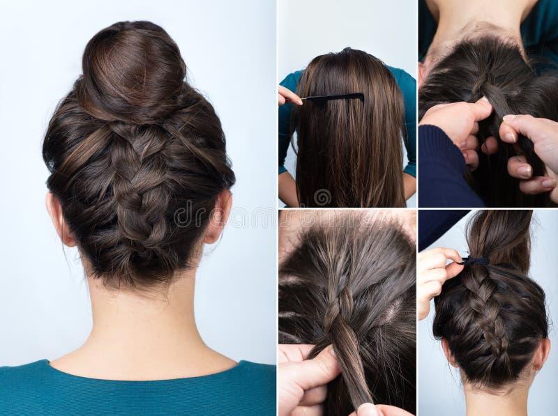 Cours de petit pain de tresse de coiffure photo stock