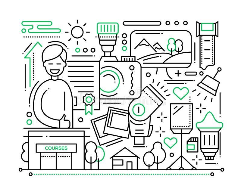 Cours de photographie - ligne composition en conception illustration stock