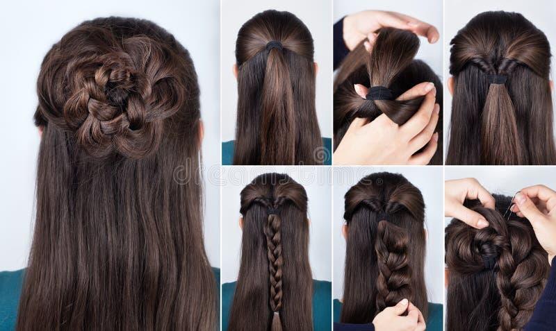 Cours de rose tressé par coiffure images libres de droits