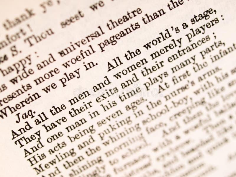 Cours de Shakespeare images libres de droits