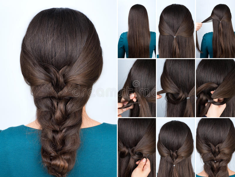 Cours de tresse tordu par coiffure images libres de droits