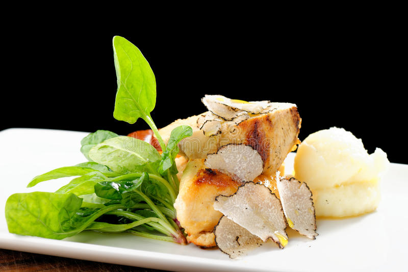 Cours dinant fin de courrier, blanc de poulet grillé photo stock