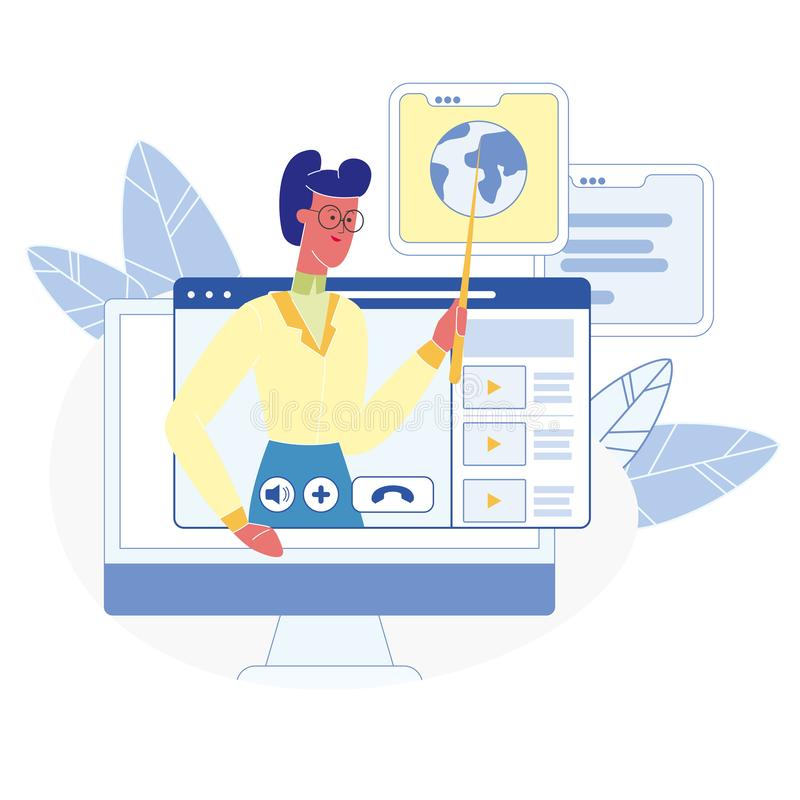 Cours en ligne, illustration plate de vecteur de classes illustration de vecteur