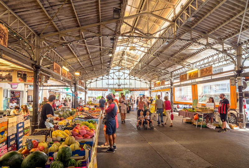 Cours Massena provencal market in the old town, Antibes. stock images