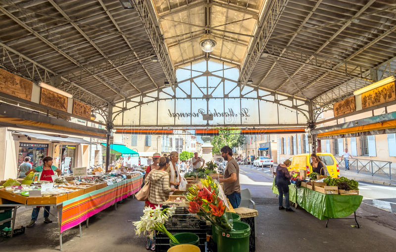 Cours Massena provencal market in the old town, Antibes. stock photos