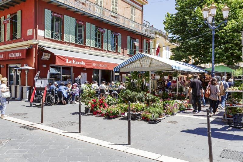 Cours Saleya in Nice, Frankrijk royalty-vrije stock afbeeldingen