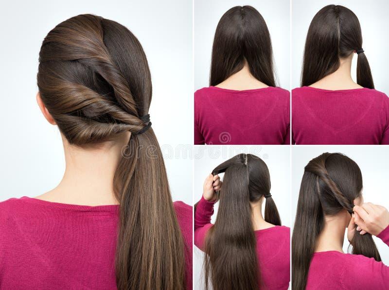 Cours tordu par coiffure de queue de poney photos stock