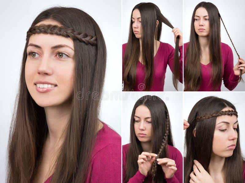 Cours tressé de cercle de coiffure image libre de droits