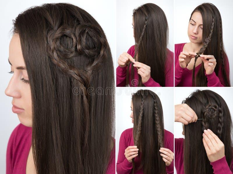 Cours tressé de coeur de coiffure photo stock