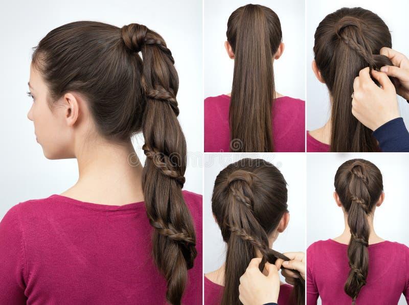 Cours tressé de coiffure de queue de poney photo libre de droits