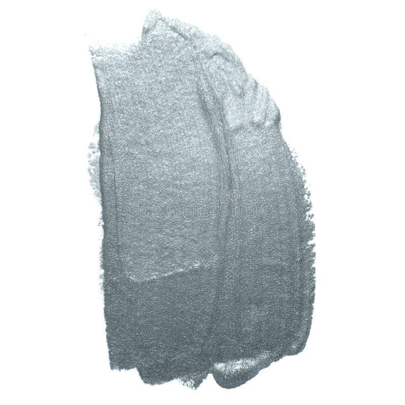 Course argentée de pinceau de scintillement ou calomnie abstraite de limande avec la texture de tache sur le fond blanc Scintille image stock