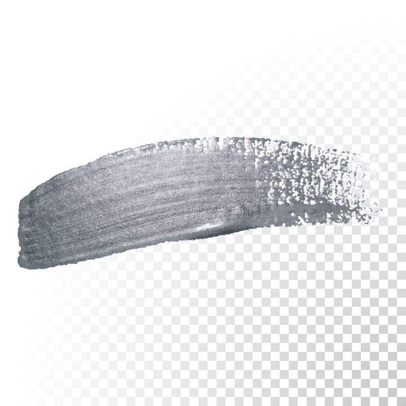 Course argentée de pinceau de scintillement ou calomnie abstraite de limande avec la texture de tache sur le fond transparent Sci illustration de vecteur