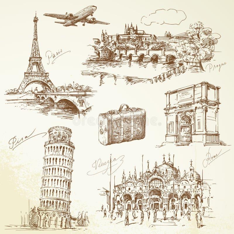 Course au-dessus de l'Europe illustration de vecteur
