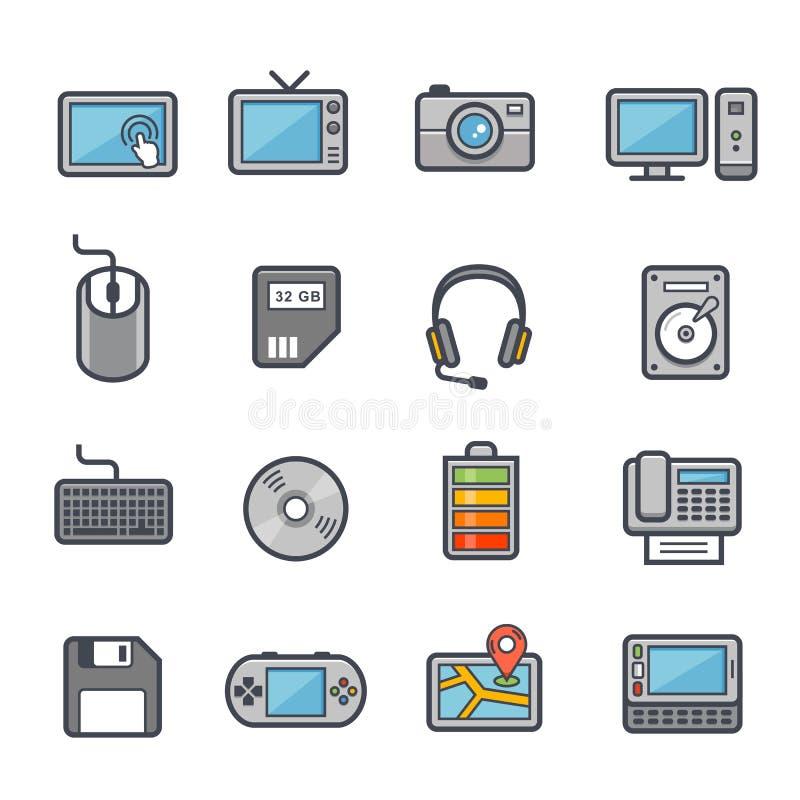 Course audacieuse d'icône de technologie et de dispositifs avec la couleur illustration libre de droits