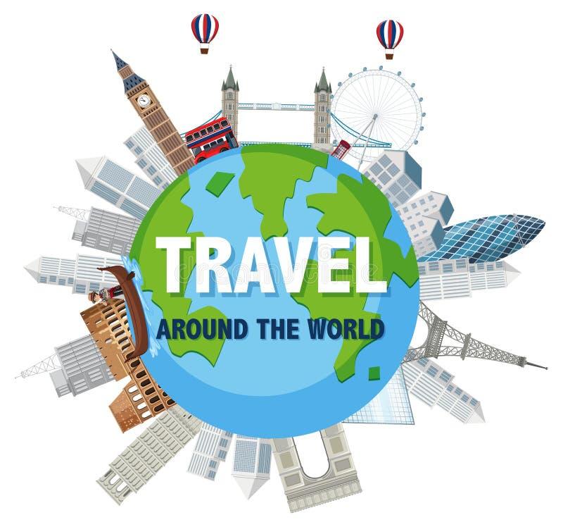 Course autour du monde illustration de vecteur